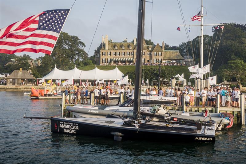 American Magic's AM38 gets tied up to the docks at New York Yacht Club's Harbour Court for the 175th Annual Regatta BBQ. - photo © Amory Ross