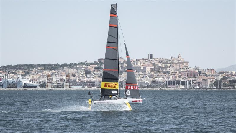 Luna Rossa Parda Pirelli sail their development tri-foiler off Cagliari, Sardinia - photo © Luna Rossa