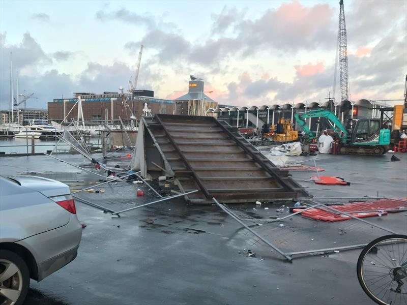 A temporary fence was damaged on the America's Cup base construction site, the remainder of the damage was not an America's Cup asset. - photo © Wynyard Edge Alliance
