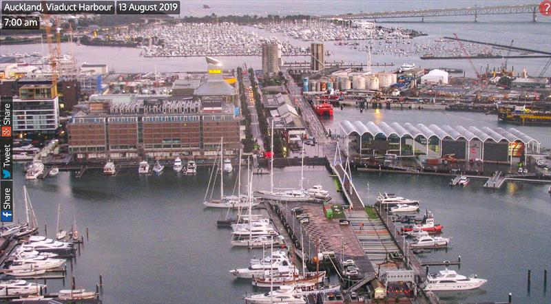 The America's Cup base construction was largely unscathed in this shot from approximately 7.00am - August 13, 2019 photo copyright Viaduct Webcam taken at  and featuring the ACC class