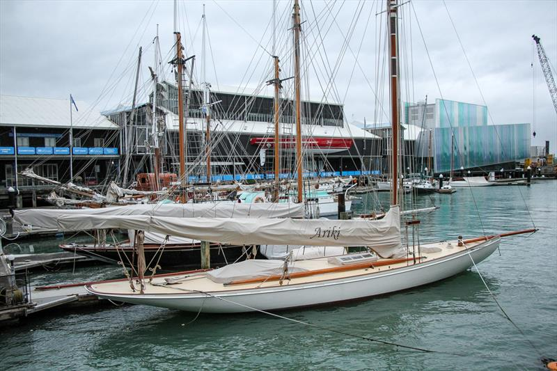 Classic Yachts at the National Maritime Museum, with a half-hull of Steinlager 2, and NZL 32 in the glass enclosure at the end of Hobson Wharf - Luna Rossa base is behind - photo © Richard Gladwell / Sail-World.com