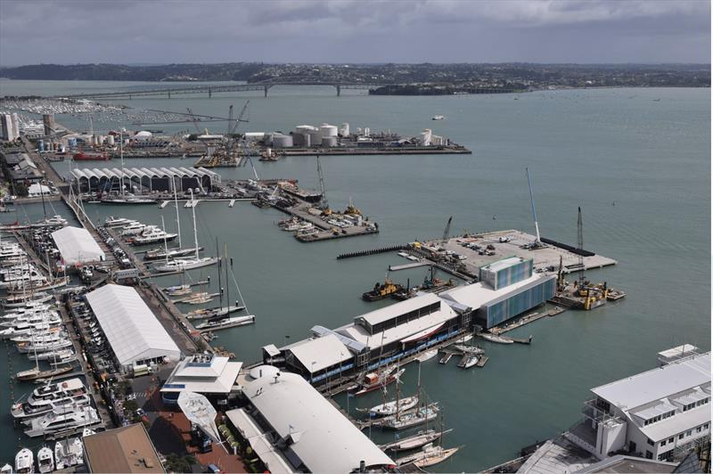Over of site - Luna Rossa Base B in centre right foreground, ETNZ Base A in centre,  Bases C,D,E alongside tanks Wynyard Wharf - America's Cup base construction update - October 2019 - photo © Wynyard Edge Alliance