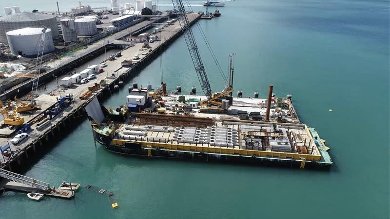 Storm water Outfall work in progress - Wynyard Wharf - America's Cup base construction update - October 2019 - photo © Wynyard Edge Alliance