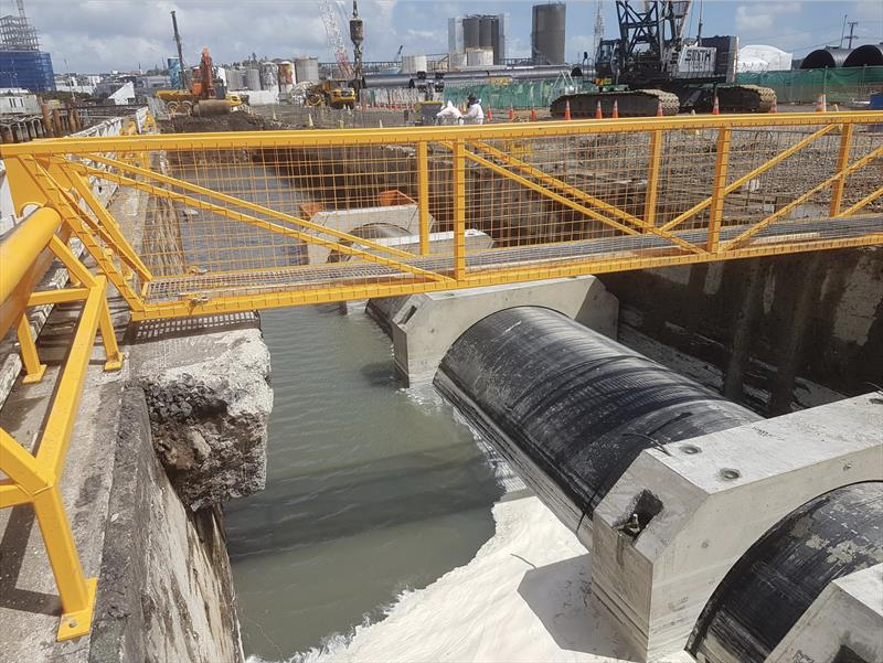 Daldy Street Stormwater outlet is being upgraded - America's Cup base construction update - October 2019 - photo © Wynyard Edge Alliance