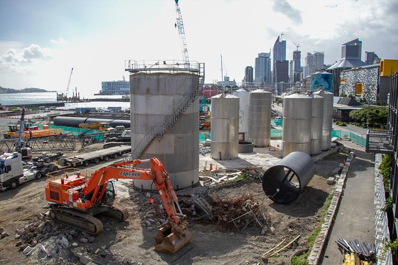 Silo demolition largely complete, with section of new stormwater outflow pipe that will be laid the length of Wynyard Wharf - America's Cup Construction - January 7, 2019 - photo © Richard Gladwell / Sail-World.com