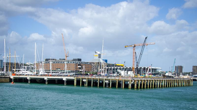 Full Hobson Wharf extension with some construction for Luna Rossa bases underway- America's Cup Construction - January 7, 2019 photo copyright Richard Gladwell / Sail-World.com taken at Royal New Zealand Yacht Squadron and featuring the ACC class