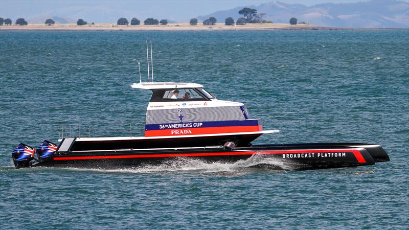New TV Broadcast Platform vessel - based on AC45 hulls - Waitemata Harbour, January 15, 2020 - photo © Richard Gladwell / Sail-World.com