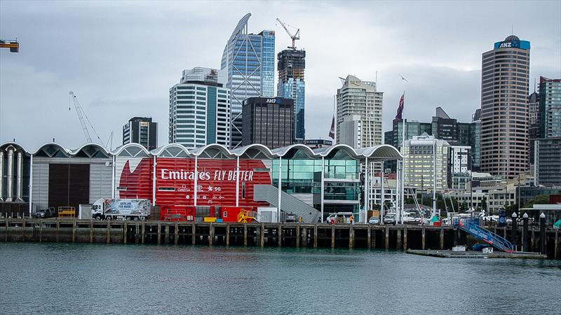 Emirates Team NZ base on the opposite side of Wynyard Basin - America's Cup bases - Wynyard Point - March 24, 2020 - Auckland - photo © Richard Gladwell / Sail-World.com