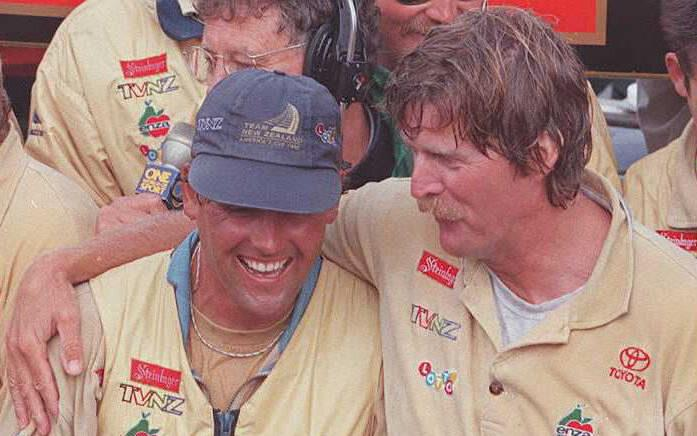 Peter Blake with Russell Coutts - 1995 America's Cup - photo © AFP