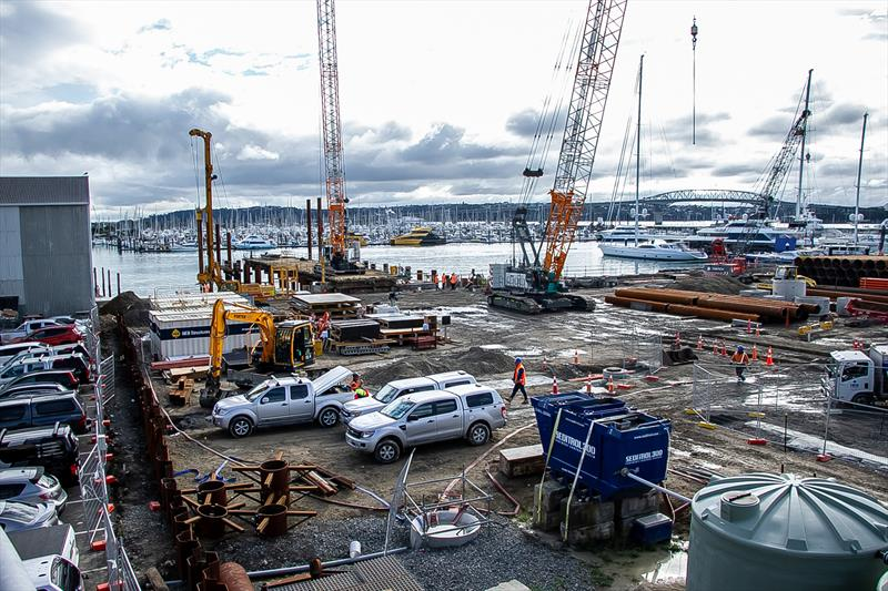 Superyacht maintenance facility under way on the western side of Beaumont street - May 2020 - photo © Richard Gladwell / Sail-World.com