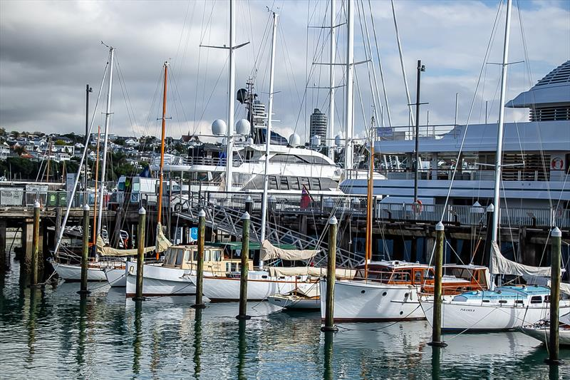 Part of Auckland's Classic Yacht fleet is moored backing onto the Superyacht maintenance facility. - photo © Richard Gladwell / Sail-World.com