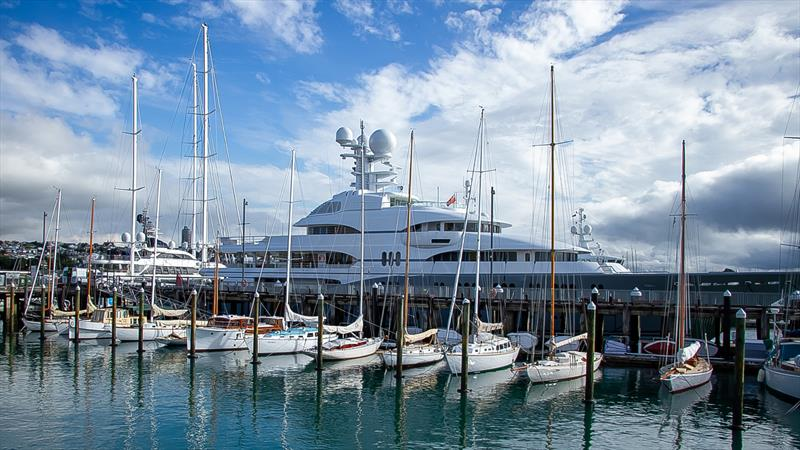 A contrast in eras - part of Auckland's classic yacht fleet with the superyachts behind. Ida to the right is the newest additon to the fleet. - photo © Richard Gladwell / Sail-World.com