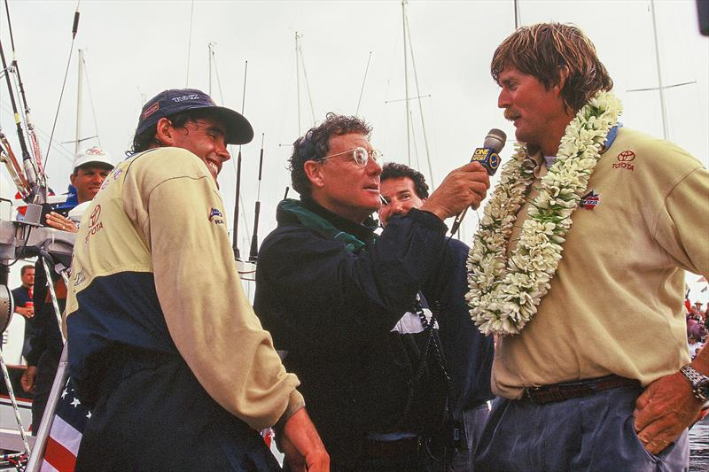 Peter Montgomery interviews Peter Blake with Russell Coutts after the 1995 America's Cup win in San Diego. - photo © Montgomery archives