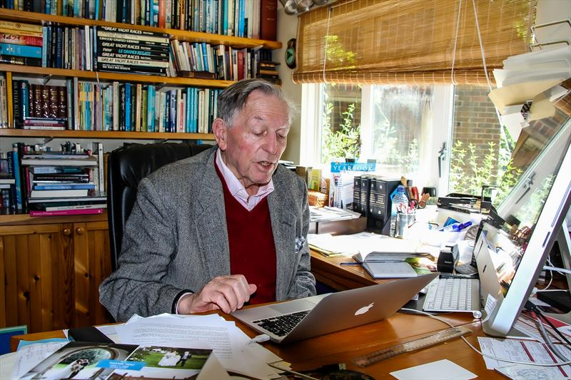 Bob Fisher reading email aloud- Phoenix Cottage - Lymington - June 2019 - photo © Richard Gladwell / Sail-World.com