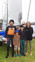 Defending B14 State Champion Robbie Hunt with Arthur and Wellington Adams and crew Charlotte Armstrong © Greg Rowsell