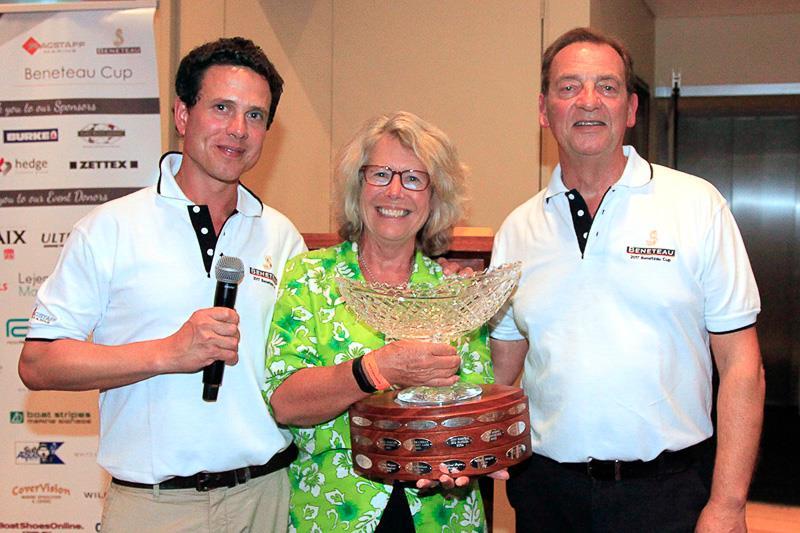 Micah Lane (L) and Graham Raspass (R) award the 2017 Beneteau Cup to Kim Clinton. The 2018 Beneteau Cup is on October 26, BTW... - photo © Alex McKinnon