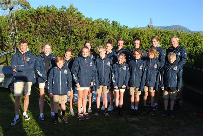The Australian team for the Cadet Worlds at the Sandy Bay Sailing Club training weekend in June photo copyright Peter Campbell taken at Sandy Bay Sailing Club and featuring the Cadet class