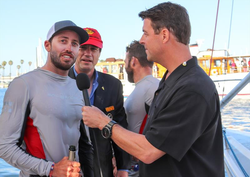 Helmsman Taylor Canfield (left) is interviewed by Tucker Thompson - Final Day, 2018 Congressional Cup, Long Beach, April 21, 2018 photo copyright Bronny Daniels taken at Long Beach Yacht Club and featuring the Catalina 37 class