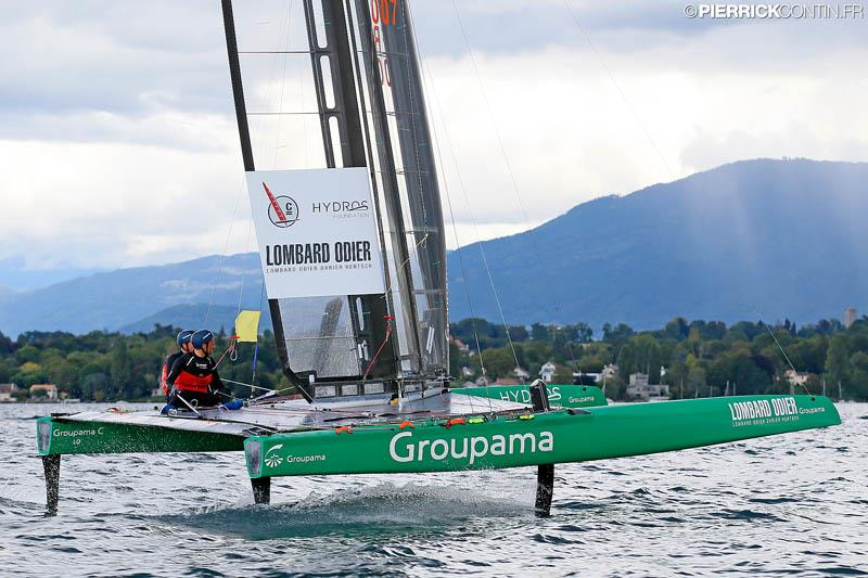 Franck Cammas and Louis Viat on Groupama C win the Little Cup 2015 photo copyright Pierrick Contin / www.pierrickcontin.com taken at Société Nautique de Genève and featuring the C Class Cat class