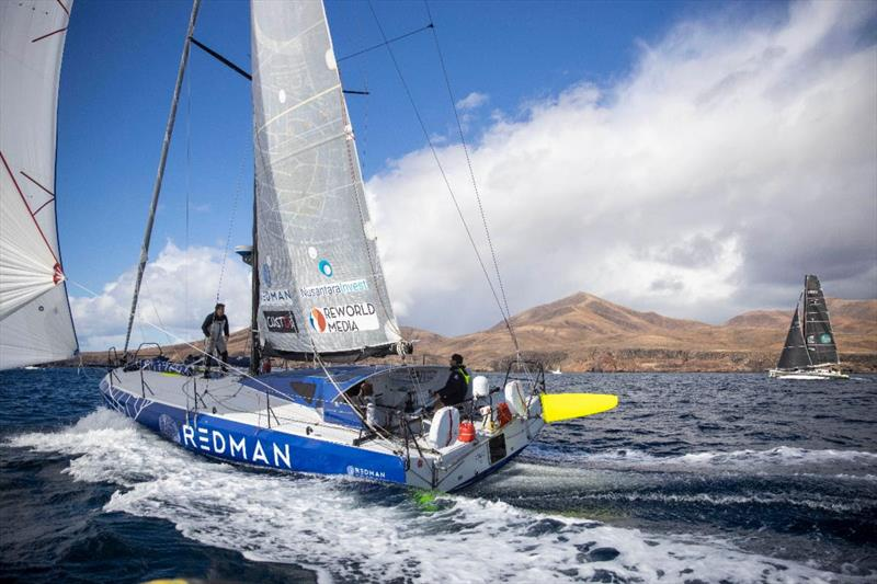 Start of the 2021 RORC Transatlantic Race from Puerto Calero, Lanzarote - Atlantic Class40 duel begins between Antoine Carpentier's Redman and Olivier Magre's Palanad 3 photo copyright James Mitchell / RORC taken at Royal Ocean Racing Club and featuring the Class 40 class