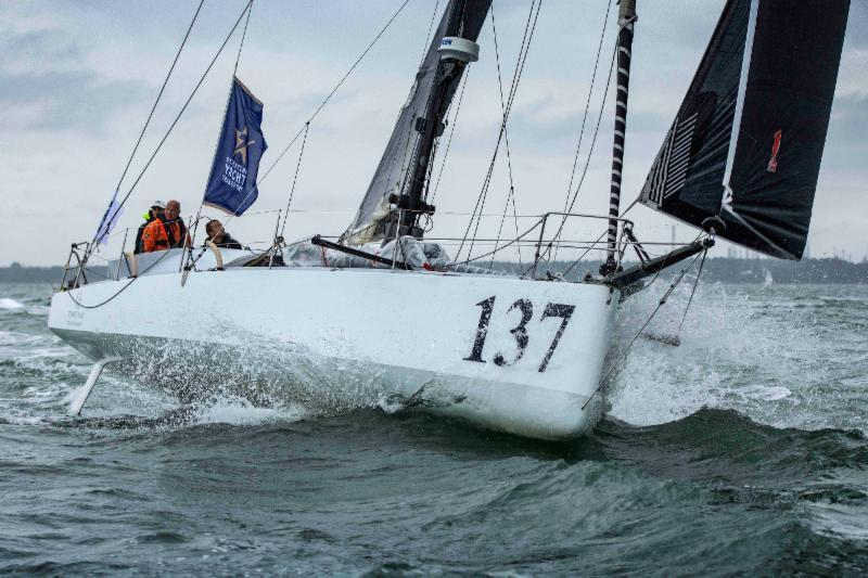 Sam Goodchild and Mike Golding on Peter Harding's Class40 Phor-ty at the Sevenstar Round Britain and Ireland Race start - photo © James Tomlinson