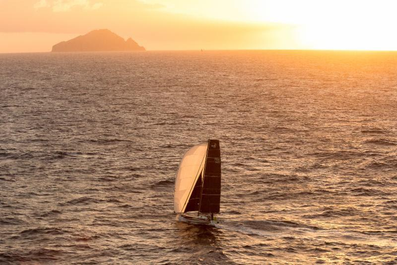 Catherine Pourre's Class40 Eärendil approaching Redonda at sunset in the RORC Caribbean 600 - photo © RORC / Arthur Daniel
