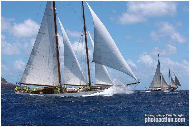 Staysail Schooner 115' Eros sails to the East Coast of the States - Antigua Classic Yacht Regatta 2019 - photo © Tim Wright / www.photoaction.com