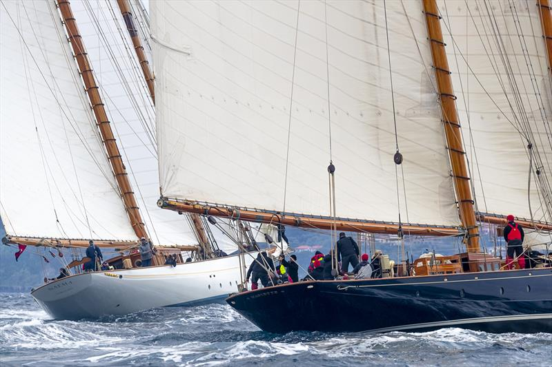 The mega-schooner match race continues between Naema and Mariette of 1915 - photo © Gianfranco Forza