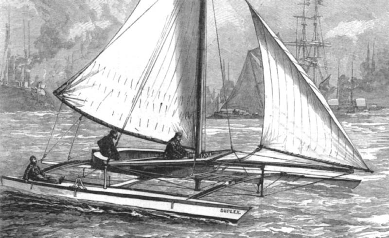 75 years before the cat scene really took off, Nathaniel Herreshoff demonstrated his Duplex catamaran on the Thames. This was still the era of heavy, deep-keeled yachts, which could not hope to compete, so they took the easy route and banned it - photo © Herreshoff Collection