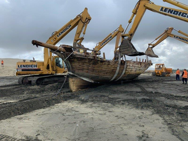 Excavation ahead of the retrieval of the remains of the 53ft Daring lost in 1865 at the entrance to the Kaipara Harbour - photo © Classic Yacht Charitable Trust