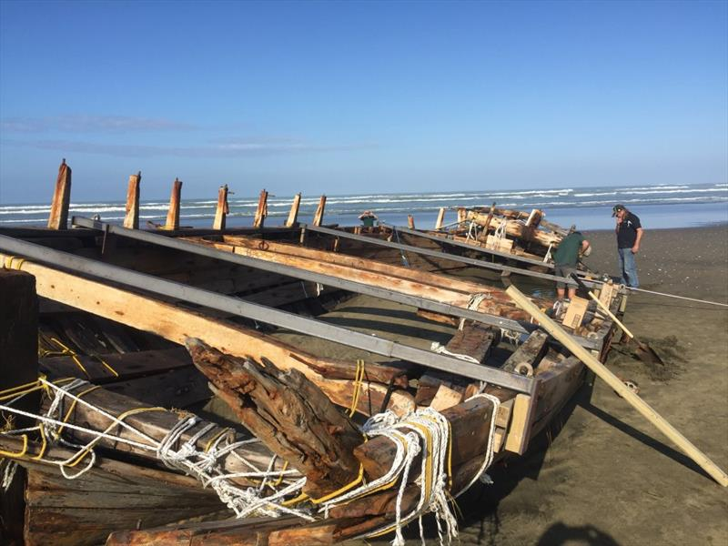 Bracing to prevent further damage - retrieval of the remains of the 53ft Daring lost in 1865 at the entrance to the Kaipara Harbour - photo © Classic Yacht Charitable Trust
