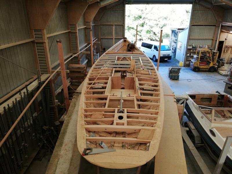 The Bailey lines become apparent as the deck beams are placed - Ida - May 2019 - photo © Classic Yacht Charitable Trust