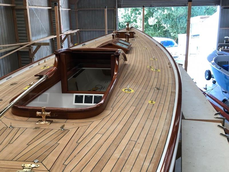 Ida - deck view with a glued, screw-less, teak deck and original design companionways and hatches - photo © Classic Yacht Charitable Trust