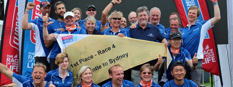 Team Sanya Serenity Coast, led by skipper Wendy `Wendo` Tuck (AUS; center, with shades), celebrate winning the Jane Tate Memorial Trophy for the first female-skippered boat to cross the finishing line in the 2017 Sydney Hobart Race - photo © Image courtesy of the Clipper Round The World Yacht Race