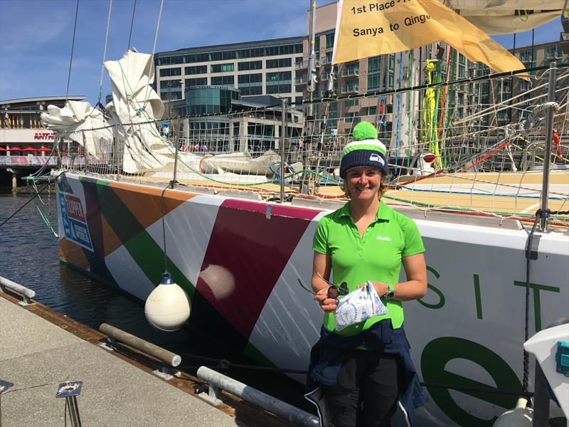 Nikki Henderson, skipper of Visit Seattle in the 2017/2018 edition of the Clipper Round The World Yacht Race, rocks Seatte Seahawk's colors while visiting the Emerald City - photo © David Schmidt