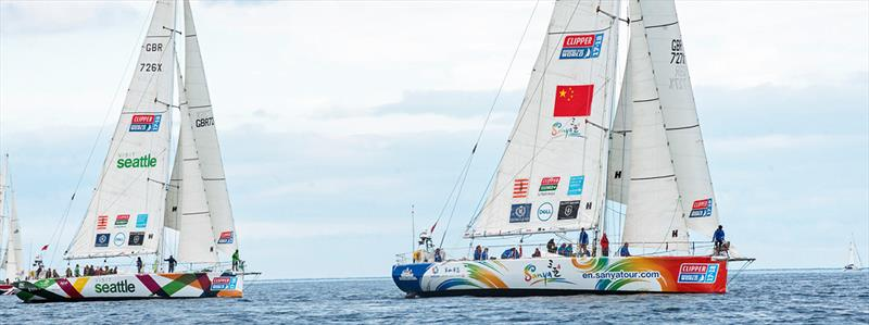 Sanya Serenity Coast and Visit Seattle at the start of Clipper 2017-18 Round the World Yacht Race 13 - photo © Martin McKeown