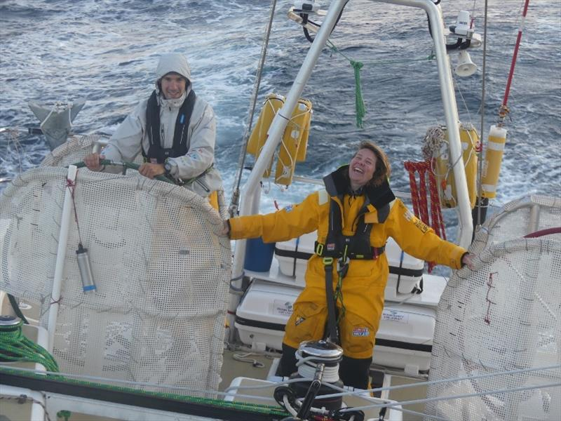 Crew enjoying surfing down the waves in the Atlantic Ocean on board Zhuhai - The Clipper Race Leg 1 - Race 2, Day 26 - photo © Clipper Race