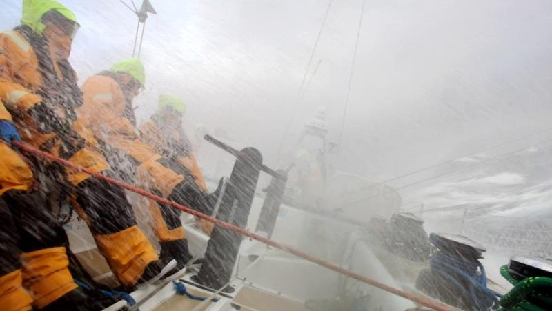 Waves crash over the deck of WTC Logistics - The Clipper Race Leg 2 - Race 3, Day 14 - photo © Clipper Race