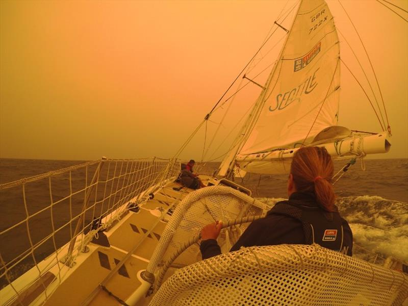 Onboard Seattle - WildFires smoke twilight - The Clipper Race Leg 4, Race 5, Day 14 - photo © Clipper Race