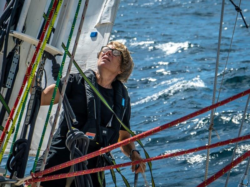Laurence Vignon at the mast - The Clipper Race Leg 5 - Race 7, Day 3 - photo © Maeva Bardy