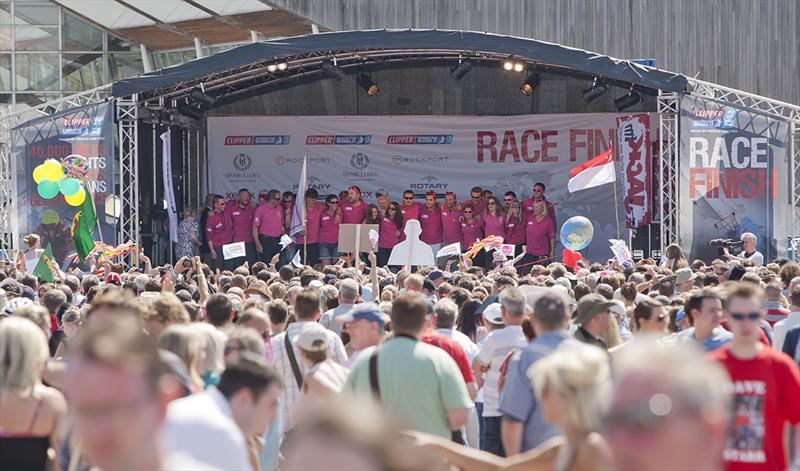 The Derry-Londonderry team welcomed home by supporters Race 15 is the final race of this edition of the Clipper Race and as all ten yacht entries complete their circumnavigation in Southampton on Sunday 22 July. - photo © Clipper Race