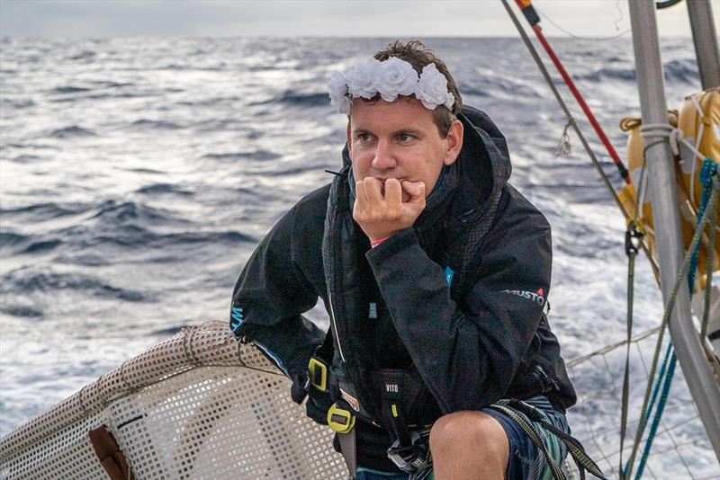 Clipper Round the World Yacht Race Leg 5 - Ben Deifel with flower crown - photo © Maeva Bardy
