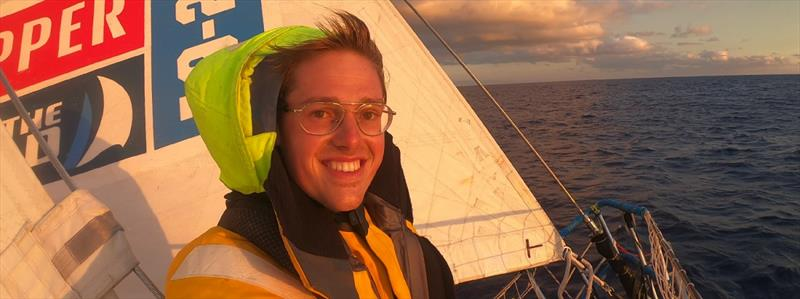 Dario on the bow at sunset - Clipper Round the World Race photo copyright Clipper Race taken at  and featuring the Clipper 70 class
