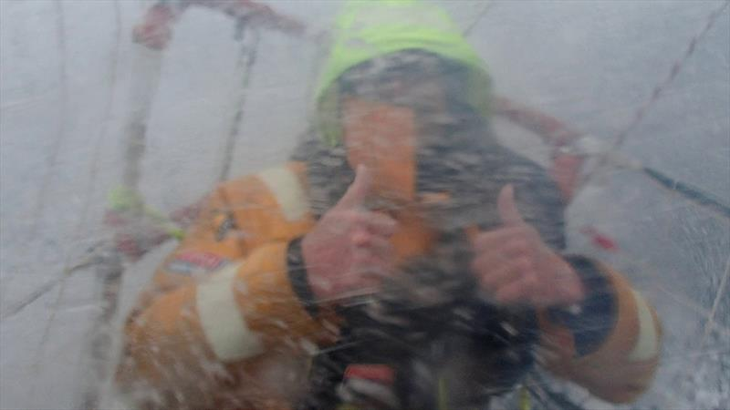 Clipper Race crew:Ian Wang - Thumbs up from on the foredeck - photo © Clipper Race