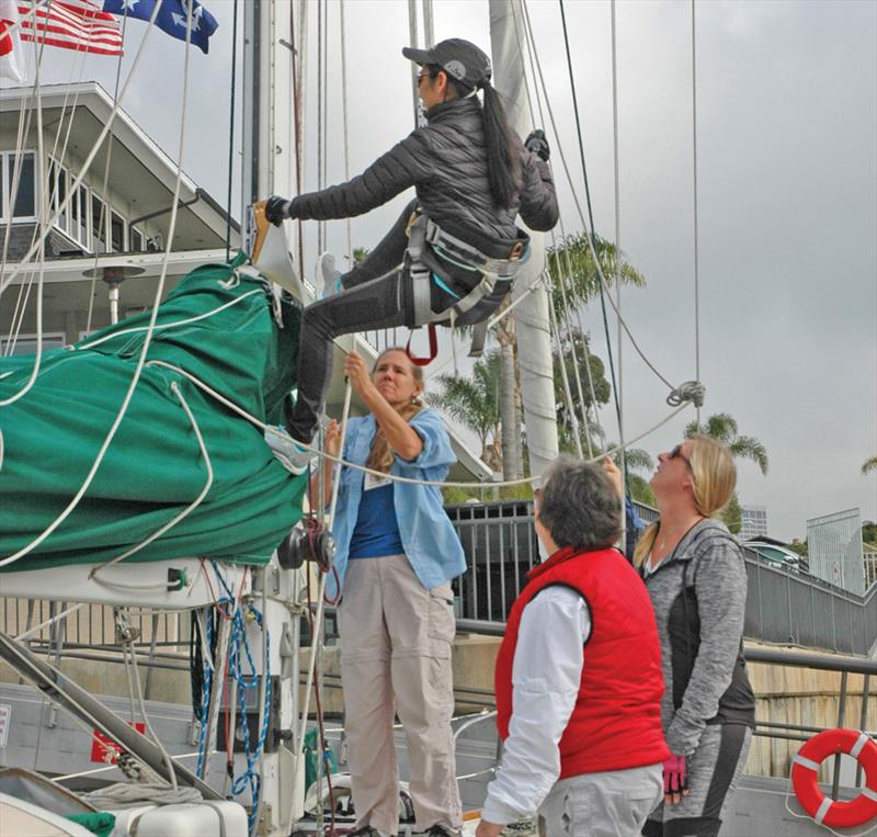 Students learn about hoisting a crewmember aloft at the Sailing Convention for Women - photo © Image courtesy of the Sailing Convention for Women