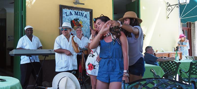 Dancing at lunch time - the Cuban way - photo © Neil Langford, SV Crystal Blues