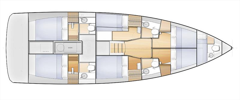 Layout Below Decks - Sun Loft 47 - photo © Jeanneau
