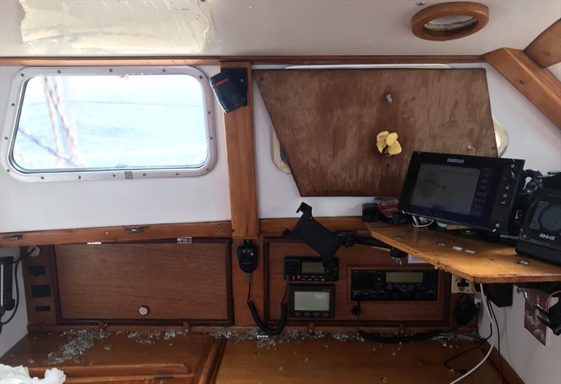 Broken plexiglass and sodden electronics on Moli's nav station during his first attempt at his Figure 8 Voyage- photo © Image courtesy of Randall Reeves