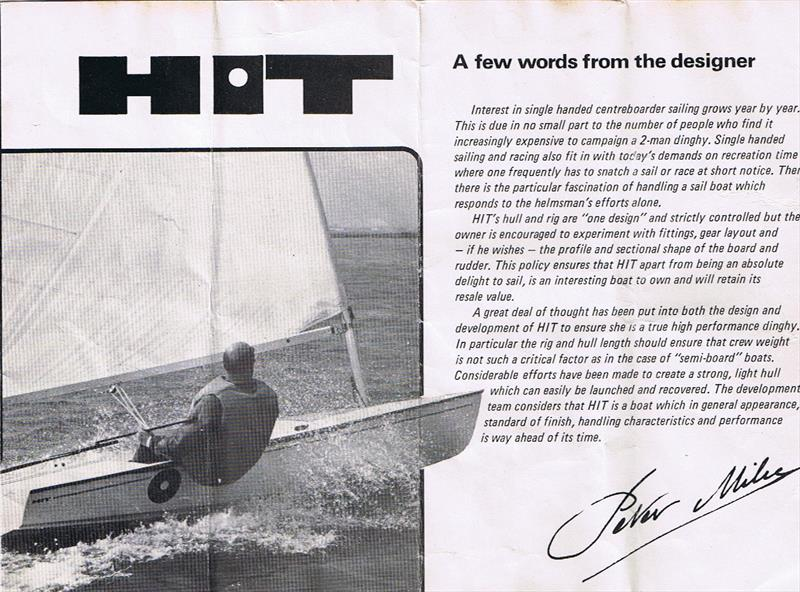 This brochure cover for the Hit shows Milne, who was an accomplished dinghy racer, sailing his Hit design - photo © Geoff Lake