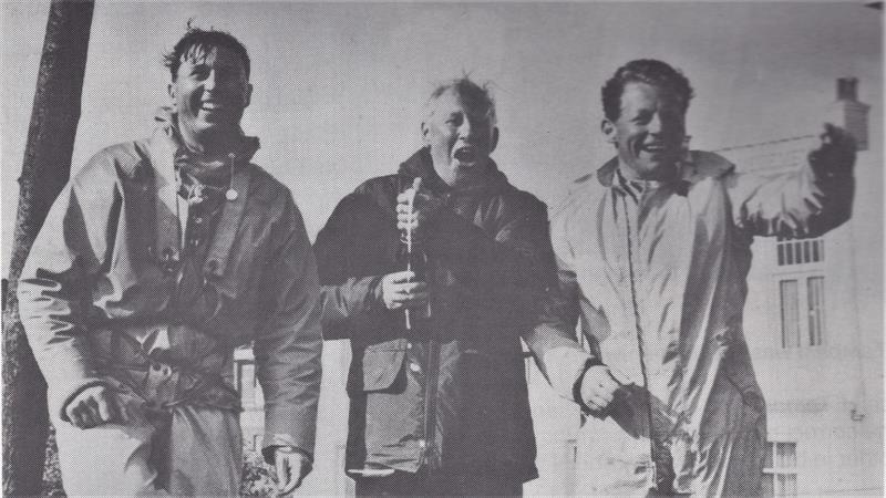After winning the IYRU Trials, a jubilant Ian Proctor is flanked by Cliff Norbury (l) and John Oakeley (r).  Cliff Norbury would go on to win the World Championships twice - photo © Proctor and Norbury Families